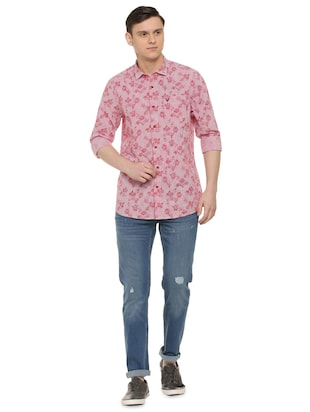 red printed casual shirt - 16107248 - Standard Image - 3
