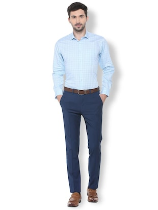 blue checkered formal shirt - 16107441 - Standard Image - 3