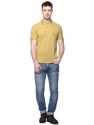 yellow solid polo t-shirt - 16109037 - Standard Image - 3