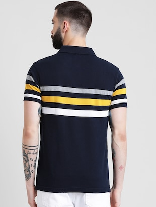 navy blue striped polo t-shirt - 16109682 - Standard Image - 3