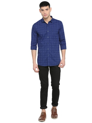 blue checkered casual shirt - 16113639 - Standard Image - 3