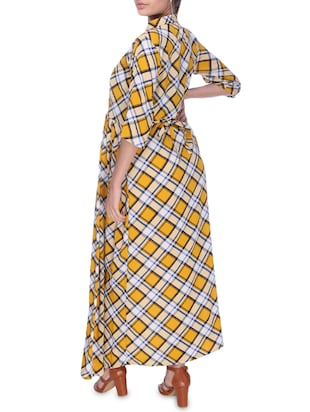 checkered maternity wear dress - 16114820 - Standard Image - 3