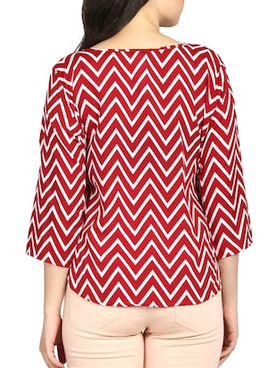 boat neck chevron top - 16121272 - Standard Image - 3