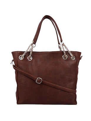 brown leatherette (pu) handbag and pouch combo - 16131945 - Standard Image - 3