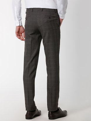 grey polyester blend flat front formal trouser - 16137414 - Standard Image - 3