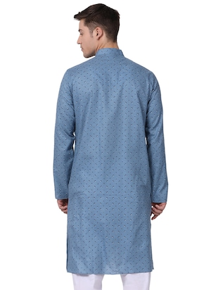 blue cotton long kurta - 16141794 - Standard Image - 3