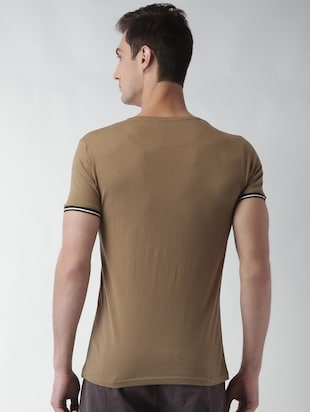 brown solid t-shirt - 16142308 - Standard Image - 3
