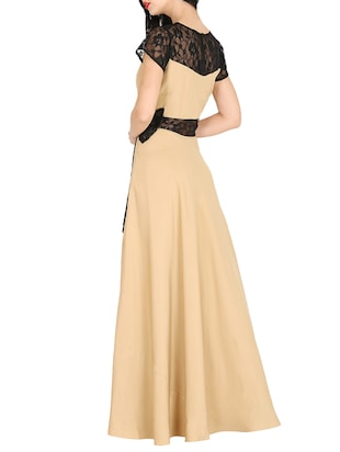 contrast lace bow detail maxi dress - 16143055 - Standard Image - 3