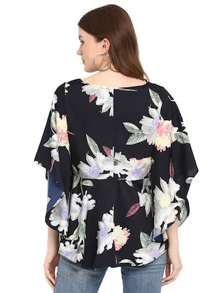 flared sleeved floral asymmetric top - 16159193 - Standard Image - 3