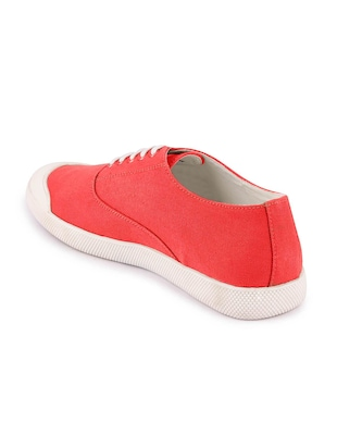 red canvas lace up sneakers - 16187850 - Standard Image - 3