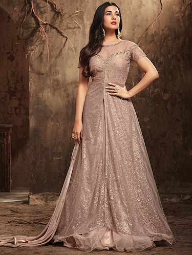embroidered semi-stitched anarkali suit - 16190469 - Standard Image - 1