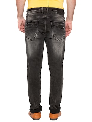 black heavy washed jeans - 16197867 - Standard Image - 3
