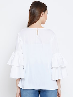 bell sleeved embroidered top - 16208499 - Standard Image - 3
