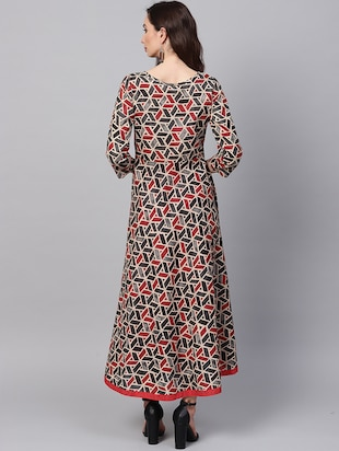 Geometric print flared kurta with pant set - 16215829 - Standard Image - 3
