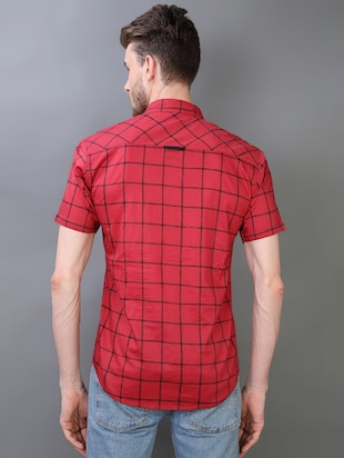 red checkered casual shirt - 16219172 - Standard Image - 3