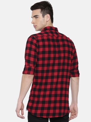 red checkered casual shirt - 16220786 - Standard Image - 3