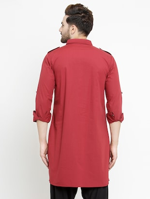 red solid pathani kurta - 16226454 - Standard Image - 3