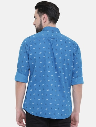 blue printed casual shirt - 16229049 - Standard Image - 3