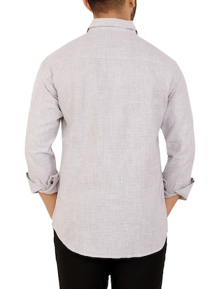 grey checkered casual shirt - 16238259 - Standard Image - 3