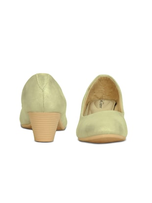 gold slip on pumps - 16239555 - Standard Image - 3