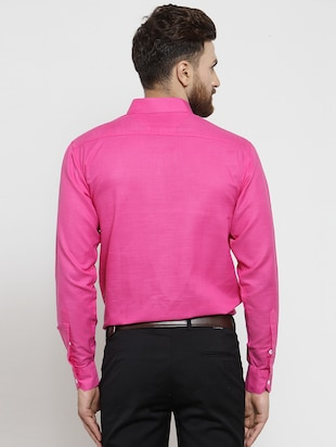 pink solid casual shirt - 16244032 - Standard Image - 3