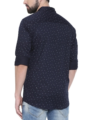 navy blue printed casual shirt - 16245488 - Standard Image - 3