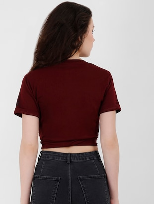 tie knot detail letter print crop top - 16257031 - Standard Image - 3