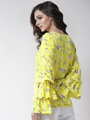 layered bell sleeved floral top - 16258317 - Standard Image - 3