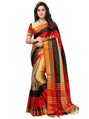 multi color saree combo (set of 2) with blouse - 16258799 - Standard Image - 3
