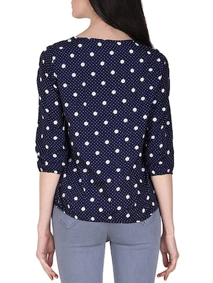 polka dots pleated blouson top - 16262713 - Standard Image - 3