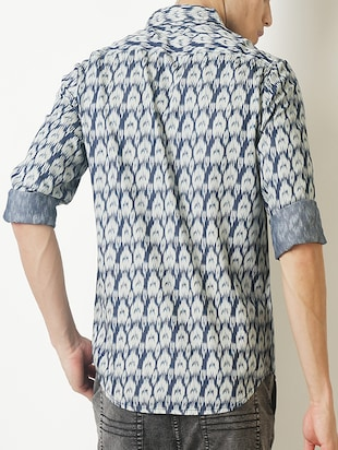 blue printed casual shirt - 16265208 - Standard Image - 3