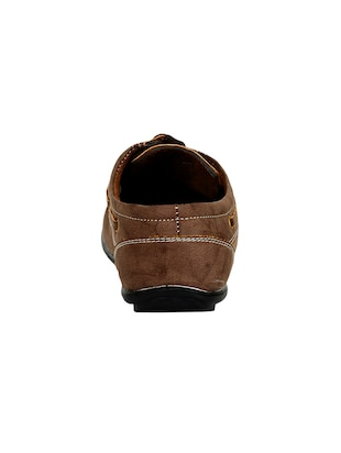 brown leatherette lace up boatshoes - 16265666 - Standard Image - 3