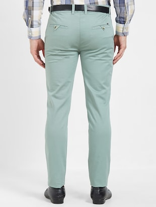 green flat front casual trouser - 16270659 - Standard Image - 3