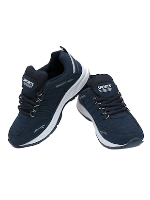 navy blue leatherette sport shoes - 16275780 - Standard Image - 3