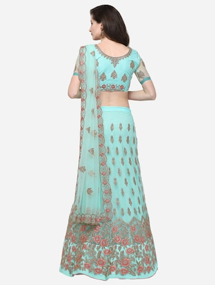 floral embroidered flared lehenga - 16287462 - Standard Image - 3