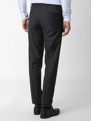 navy blue flat front formal trouser - 16289282 - Standard Image - 3