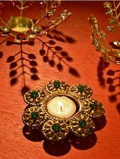 Antique Gold & Green Tea Light Candle Holder - By