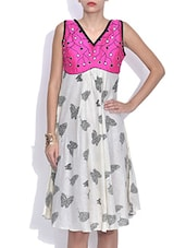 White Butterfly Printed Cotton Dress - By