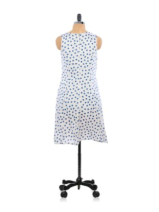3a2a69c98 Buy Cute White And Blue Polka Dotted Summer Dress by Eighteen27 ...