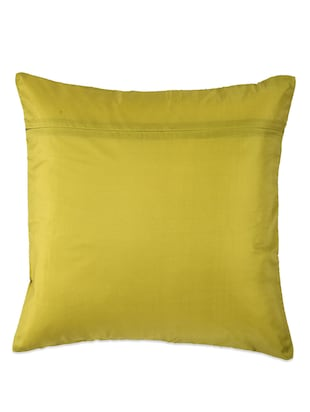 Lime Green Cushion cover with criss cross brocade patti - 907739 - Standard Image - 3