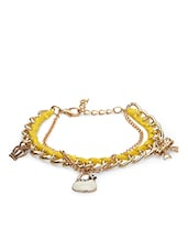 Yellow And Gold Metal Charm Bracelet - By