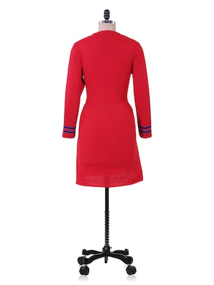Red And Blue Winter woolen kurta - 937252 - Standard Image - 3