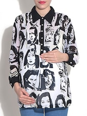 Monochrome Printed Full Sleeved Viscose Maternity Tunic - By