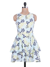 Light Blue Floral Printed Ruffled Cotton Dress - By
