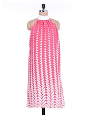 White And Pink Geometrical Printed Gathered Dress - By