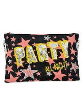 Black Star Sequined Canvas And Leatherette Sling Bag - By