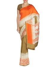 Printed Tri-Color Pasmina Silk Saree - By