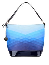 Blue Shaded Faux Leather Handbag - By