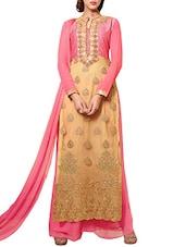 Beige Net Embroidered Salwar Suit Set - By