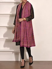 Wine Kantha Embroidered Pure Silk Dupatta - By